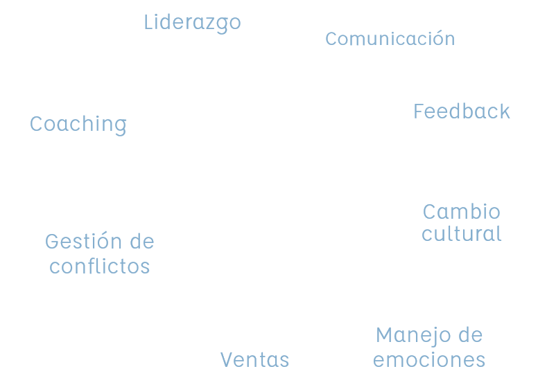 Liderarzgo, comunicación, feedback, cambio cultural, manejo de emociones, ventas, gestión de conflictos, coaching